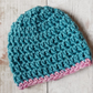 Teal and Pink Baby Hat, Crochet Newborn Beanie
