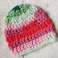Bright Rainbow Baby Hat, Crochet Newborn Beanie