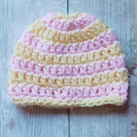 Pink and Yellow Baby Beanie Hat, Crochet Newborn Gift