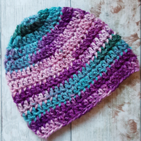 Purple Rainbow Crochet Chunky Hat, Women's Beanie