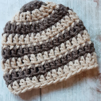 Brown and Beige Baby Beanie Hat, Crochet Newborn Gift