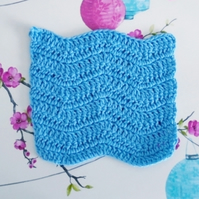 Blue Crochet Facecloth