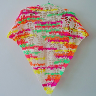 Neon Crochet Triangle Scarf