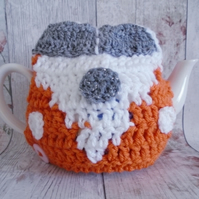 Orange Camper Van Tea Cosy, Novelty Cozy, VW Gift, Crochet Cosy