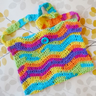 Rainbow Shoulder Bag, Crochet Handbag