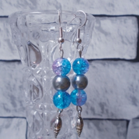 Mermaid Earrings with Silver Coloured Shell Charm