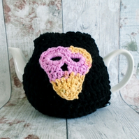 Black Skull Tea Cosy, Goth Teapot Cover, Cozy