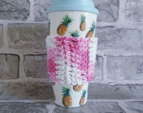Pink and White Coffee Cup Cosy, Re-usable Cup Cover, Crochet Mug Cosy