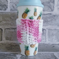Pink and White Coffee Cup Cosy