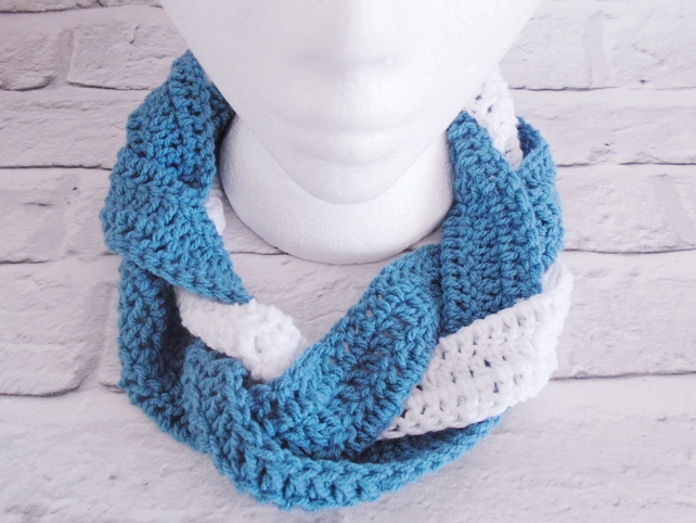 Blue and White Plaited Scarf - Reduced
