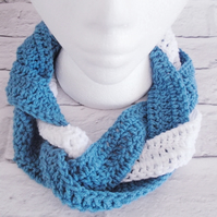 Blue and White Plaited Scarf