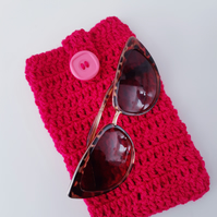 Bright Pink Sunglasses Pouch