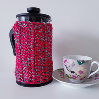 Pink and Grey Cafetiere Cosy