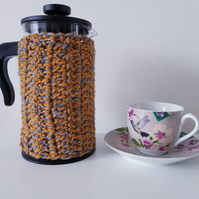 Mustard Yellow and Grey Cafetiere Cosy