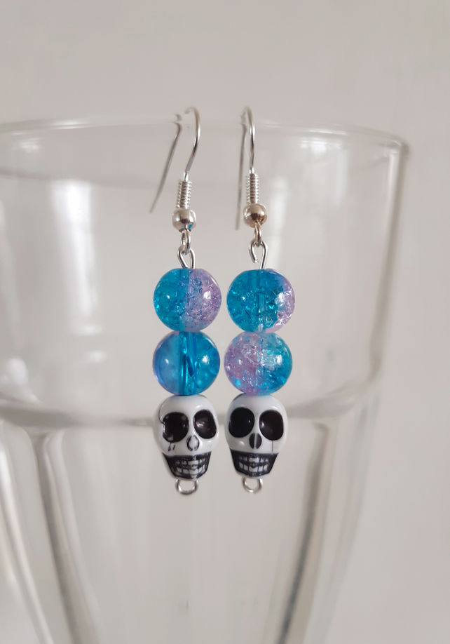 Turquoise and Pink Skull Earrings