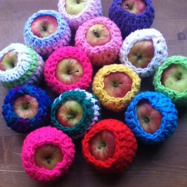 Apple Cosies, Pack of 4 Eco Friendly Apple Containers, Snack Packaging