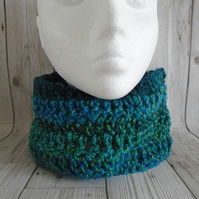 Blue and Green Neckwarmer,  Infinity Scarf, Chunky Cowl