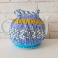 Blue Fairisle Tea Cosy, Handknitted Cozy