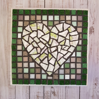 Square Heart Pot Stand Plaque in greens