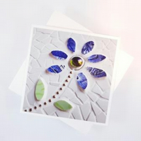Blue Mosaic Flower Greetings Card