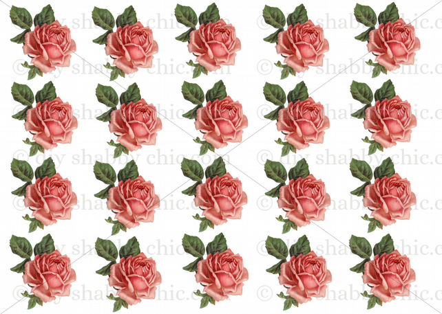Furniture Home Decal Image Transfer Vintage Pretty Ceramic Antique Rose Pink Red