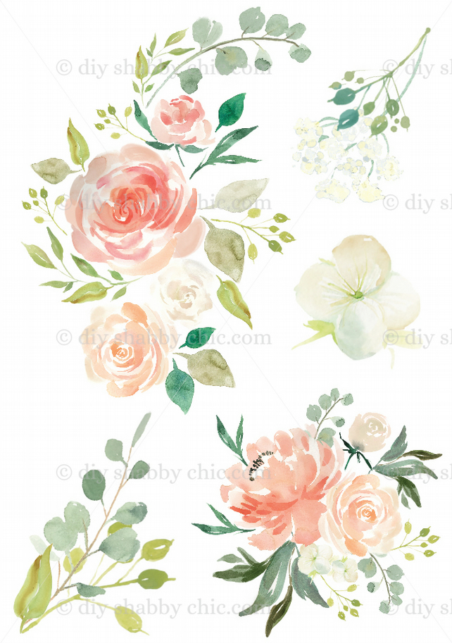Exceptionnel Furniture Wood Decal Image Transfer Vintage Flower Antique Peach Watercolor  Diy