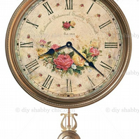 Furniture Wood Decal Vintage Image Transfer Antique Label Flower Clock Diy