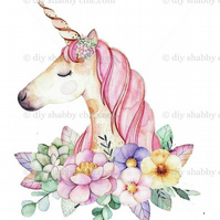 Furniture Wood Decal Vintage Image Transfer Antique Unicorn Flower Diy