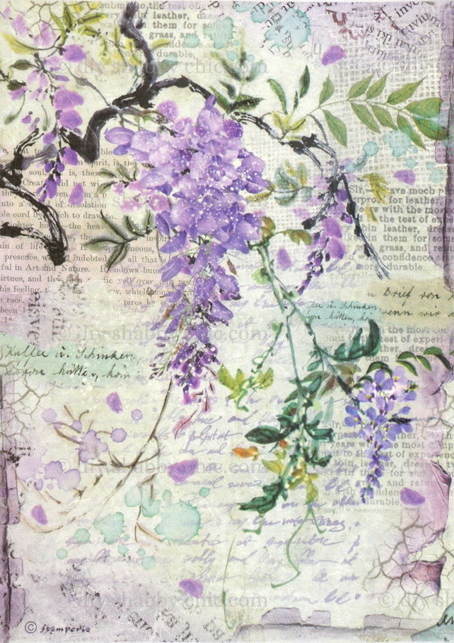 Furniture Wood Decal Vintage Image Transfer Antique Wisteria Diy