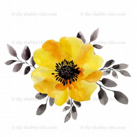 Furniture Wood Decal Vintage Image Transfer Antique Yellow Poppy Diy