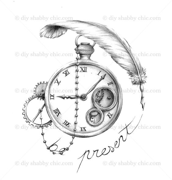 Furniture Wood Decal Vintage Image Transfer Antique Present Time Diy