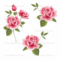Furniture Wood Decal Vintage Image Transfer Antique Pretty Roses Diy