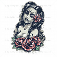 Furniture Wood Decal Vintage Image Transfer Antique Day of the Dead Diy