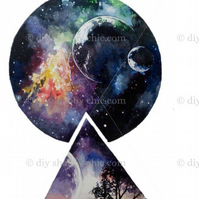 Furniture Wood Decal Vintage Image Transfer Antique Galaxy Moon Diy