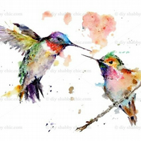 Furniture Wood Decal Vintage Image Transfer Antique Hummingbird Watercolor Diy