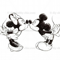 Furniture Wood Decal Vintage Image Transfer Antique Micky Mouse kiss Diy