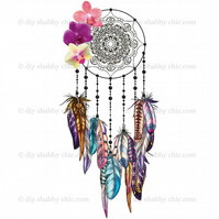 Furniture Wood Decal Vintage Image Transfer Antique Orchid Dream Catcher Diy