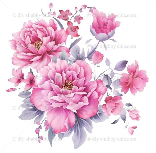 Furniture Wood Decal Vintage Image Transfer Antique Pink Peony Rose Diy