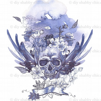 Furniture Wood Decal Vintage Image Transfer Antique Blue Skull Diy