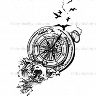 Furniture Wood Decal Vintage Image Transfer Antique Compass Bird Diy