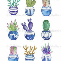 Furniture Wood Decal Vintage Image Transfer Antique Cute Cactus 2 Diy