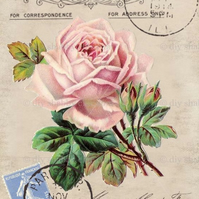 Furniture Wood Decal Image Transfer Antique Label Flower Rose Post Card Diy