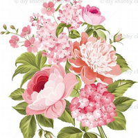 Furniture Wood Decal Image Transfer Antique Label Flower Vintage Pinks Diy