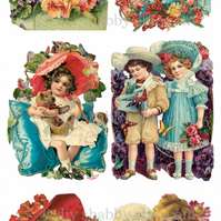Furniture Wood Decal Image Transfer Antique Label Flower Victorian Children Diy