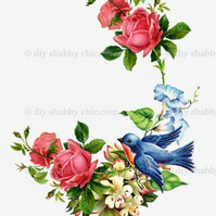 Furniture Wood Decal Image Transfer Antique Label Flower Vintage Swallow Diy