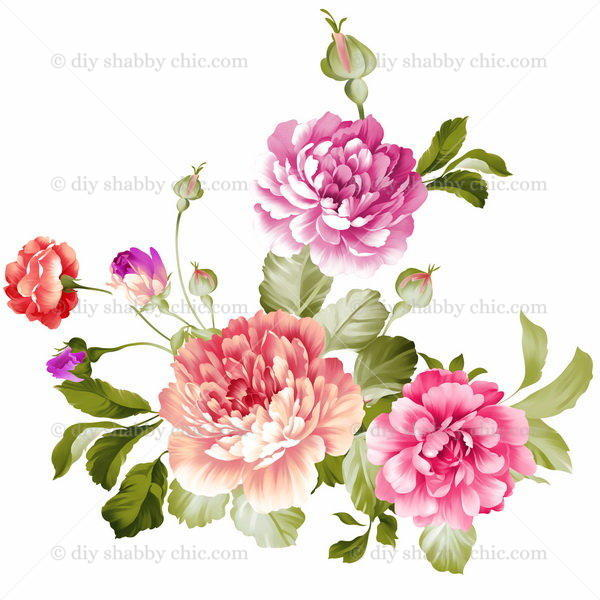 Furniture Wood Decal Image Transfer Antique Label Peony Flowers Diy
