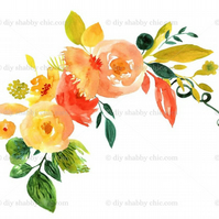 Furniture Wood Decal Image Transfer Antique Label Watercolor Yelow Flower Diy