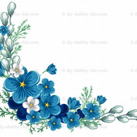 Furniture Wood Decal Image Transfer Antique Label Corner Blue Flowers Diy