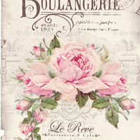 Furniture Wood Decal Image Transfer Antique Label Boulangerie Rose Diy