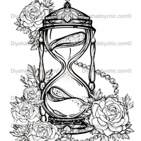 Furniture Wood Decal Vintage Image Transfer Antique Hourglass Diy Water Paint